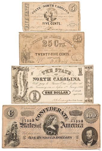 0103: Confederate T-65 with Three N.C. Notes.