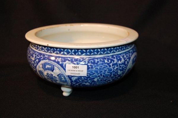 1001: Antique 19th Century Chinese blue & white tri foo
