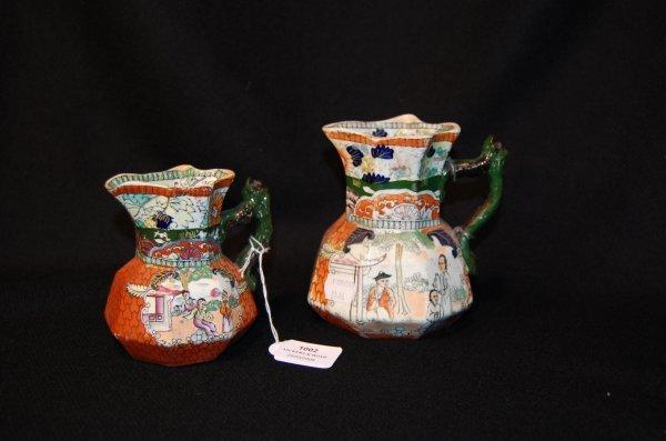 1002: Two antique Masons jugs, 13.5 cm x 11 cm high (2)