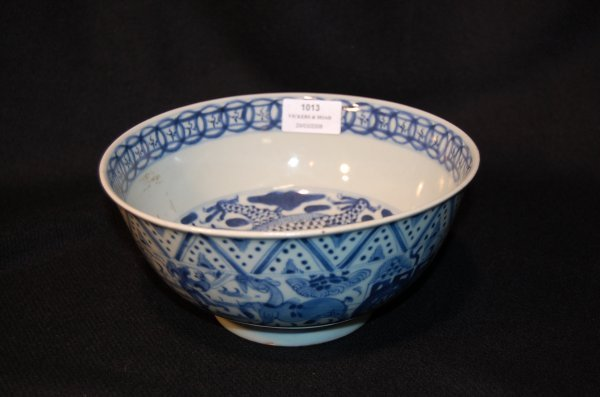 1013: Antique 18th century Chinese blue & white bowl, e