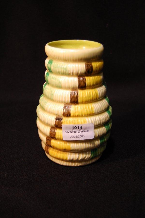 1014: Clarice Cliff 'Bizarre' rope coil vase, 15.5cm hi