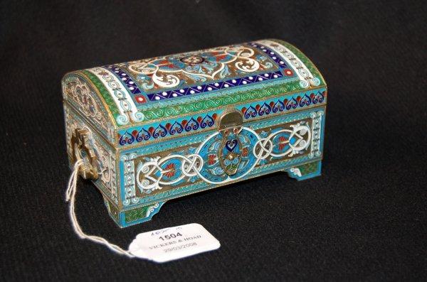 1504: 19th Century Russian silver , enamel casket
