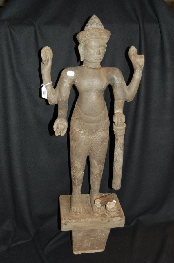 1630: Khmer sculpture, figure of Siva with four arms, h