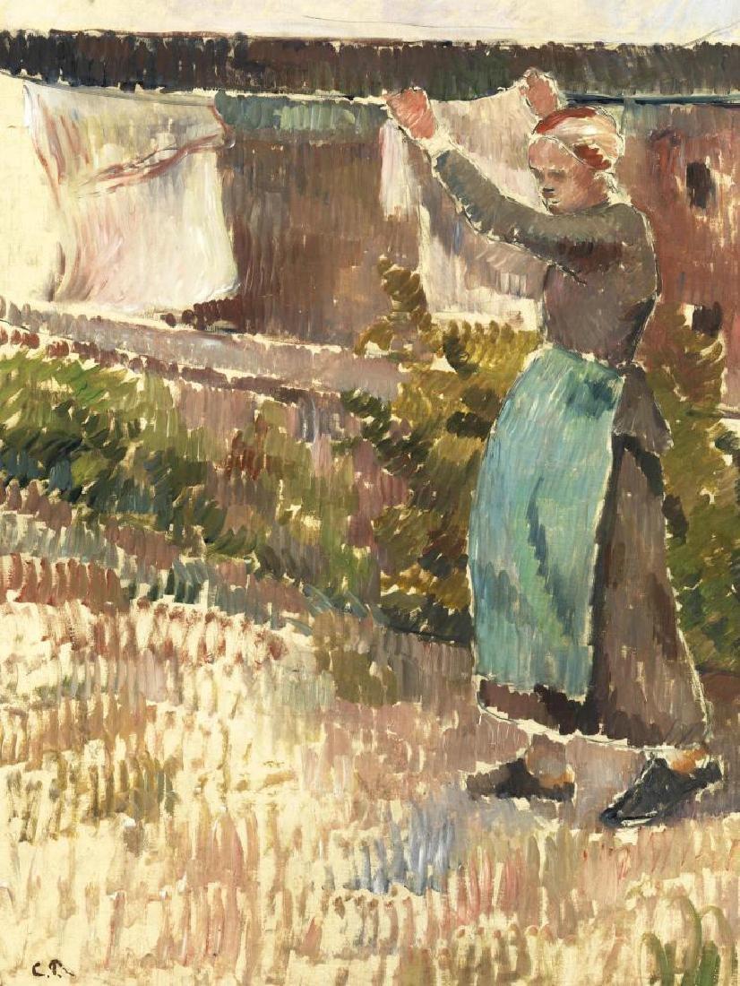 CAMILLE PISSARRO (1830-1903) Femme étendant du linge