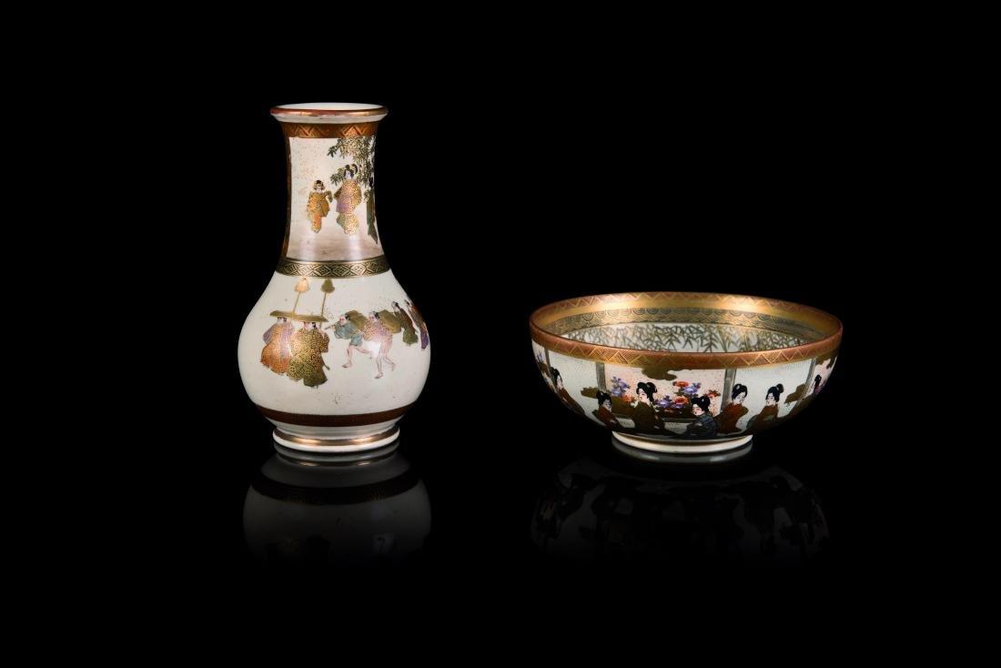 Bol et vase Faïence à décor en émaux polychromes et or