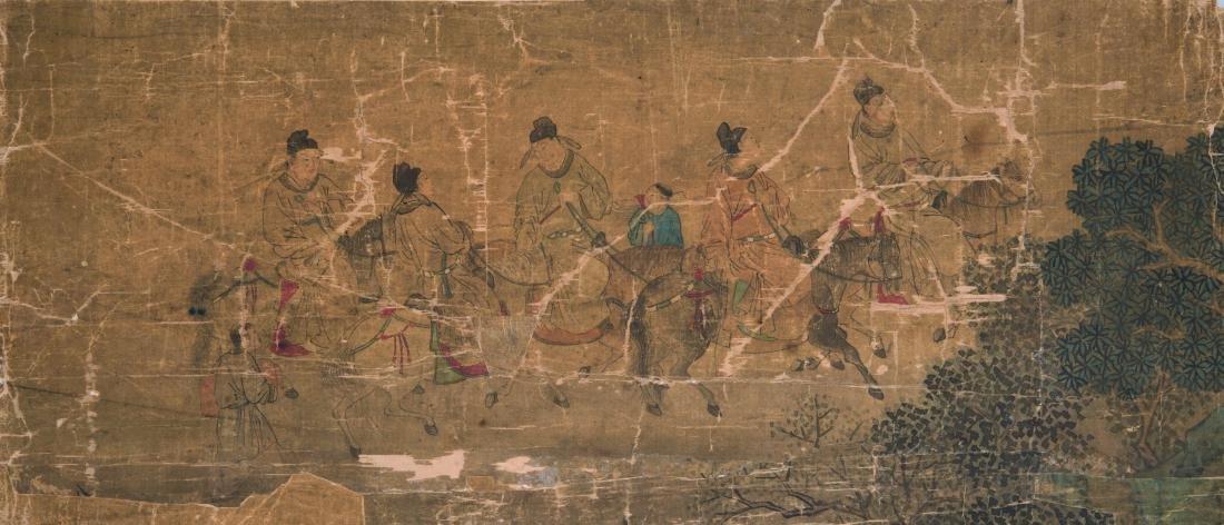 Encre polychrome sur soie Chine - XIXe siècle