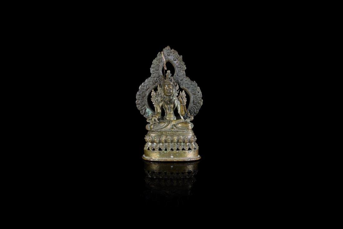 Amitayus en bronze Tibet - XIXe siècle Statuette assise