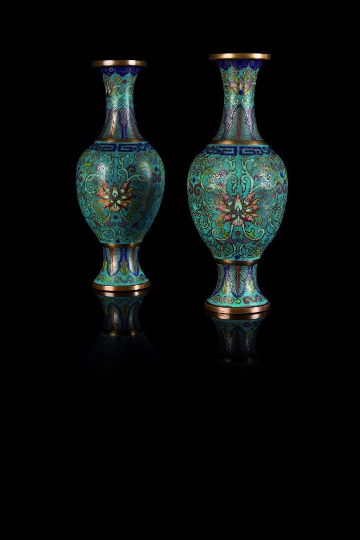 Paire de vases cloisonnés CHINE - XIXe siècle H. 19 cm