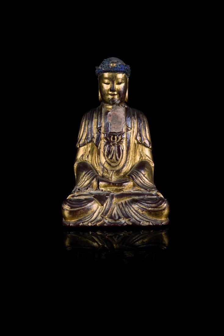Statuette de bouddha en bois laqué or CHINE - XVIIIe