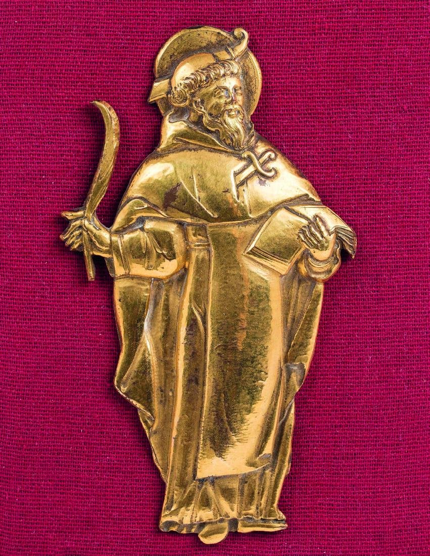 FIGURE D'APPLIQUE En bronze doré repré