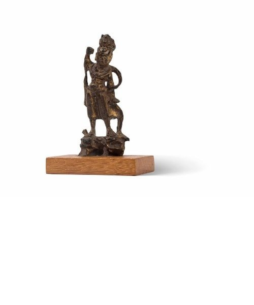 Petite statuette de gardien (Lokapala) en bronze dore?