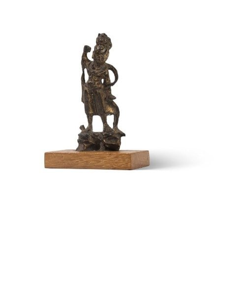 Petite statuette de gardien (Lokapala) en bronze dore? - 2