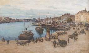 Adolphe Louis GAUSSEN (1871-1954)  Vue du Vieux-Port de