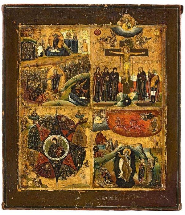 1: Icône à quatre registres : Résurrection, crucifixion