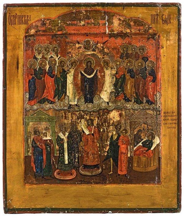 3: Vierge de Pokrov. Russie, vers 1800/1820. Des usures