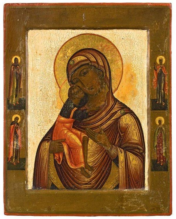 4: Vierge de Féodor. Russie, XIXème siècle. Légers repe