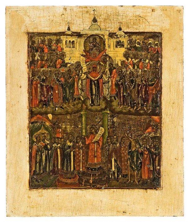 6: Vierge de Pokrov. Russie, XIXème siècle. Eclats et q