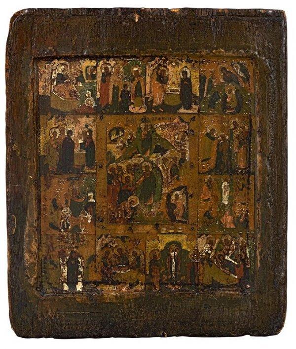 9: Les Douze fêtes. Russie, vers 1800. Usures aux visag