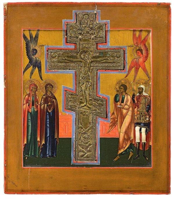 13: La crucifixion: croix en bronze insérée dans l'icôn