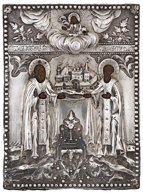 15:  Icône des Saints Zosyne et Savaty.  Belle riza cis
