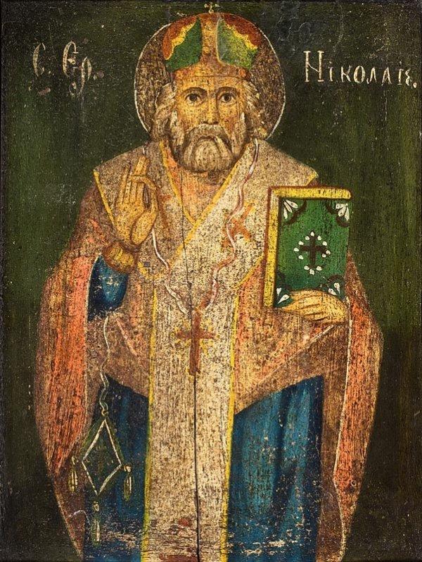 16: Saint Nicolas. Grèce, XIXème siècle. 41,5 x 33 cm.