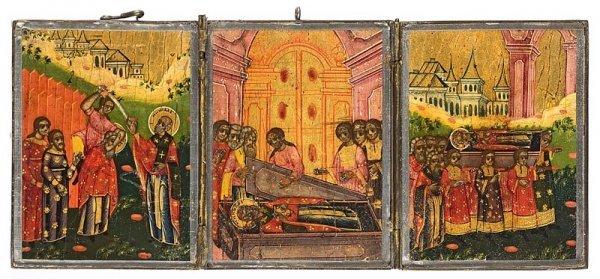 20: Tryptique peint sur bois : Trois scènes de la vie d