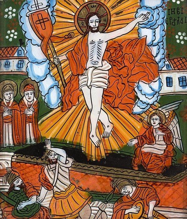 21: La Résurrection. Icône peinte sous verre. Roumanie,
