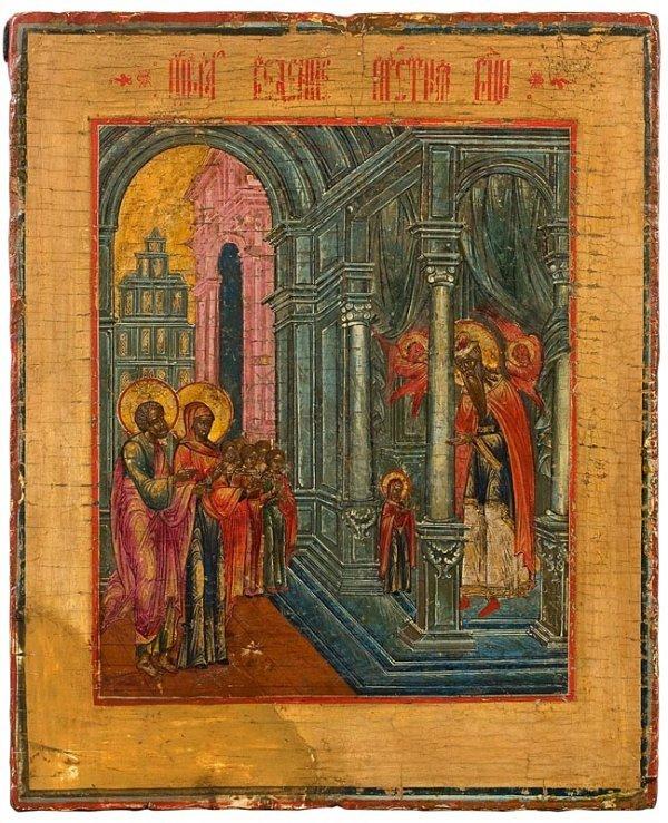 23:  Présentation de Marie au Temple. Icône, Russie, XI