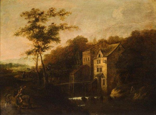 1001:  Ecole du Nord du XVIIème siècle.  Village. Huile