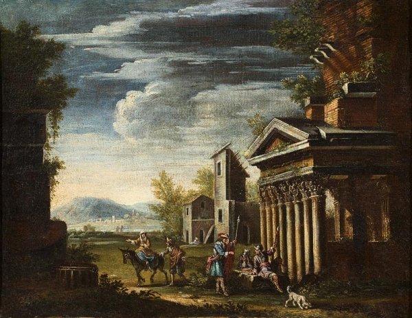 1003: Ecole italienne du XVIIIème siècle. Paysage animé