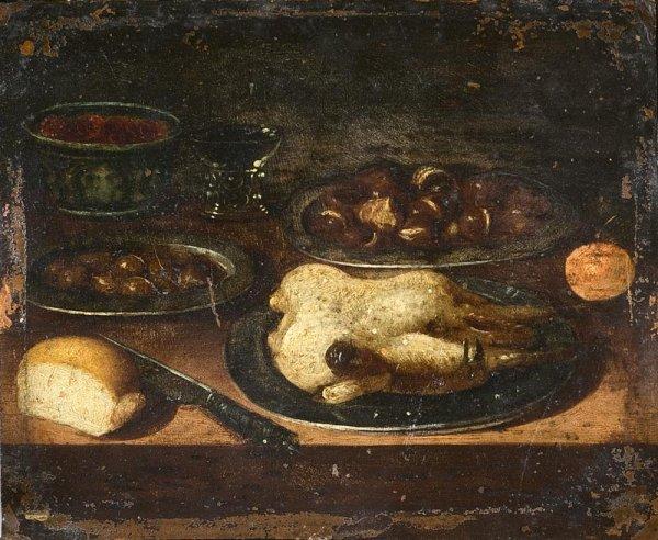 1004:  Ecole du XVIème siècle. Nature morte aux chataig