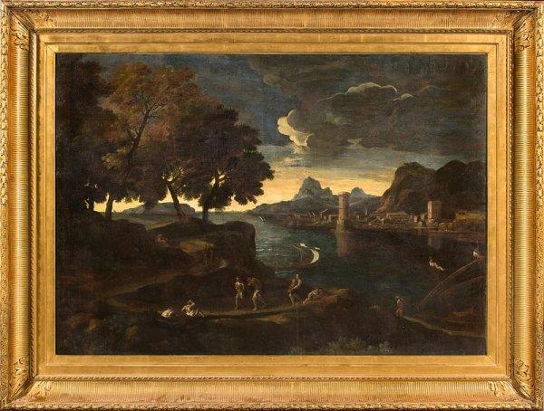 1007:  Ecole italienne du XVIIème siècle. Paysage imagi