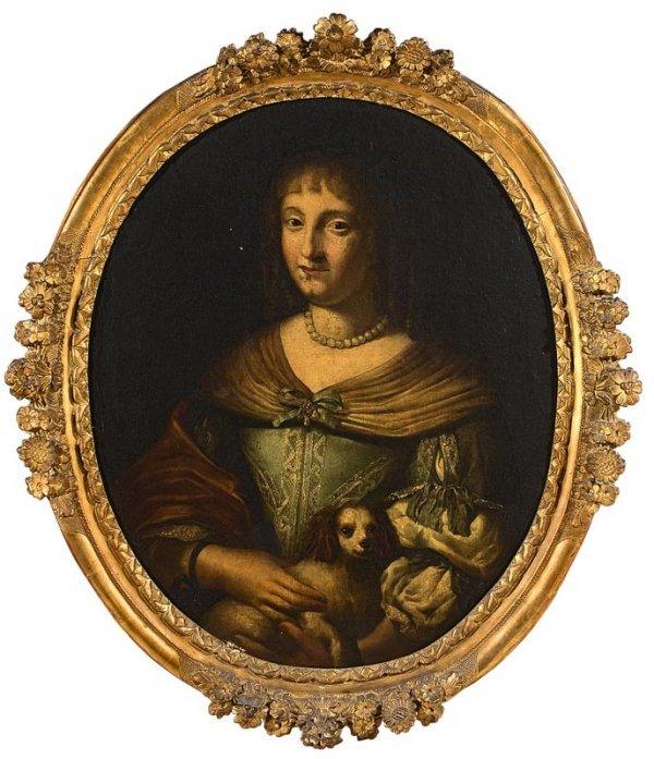 1011:  Ecole française du XVIIIe. Portrait de d'une dam