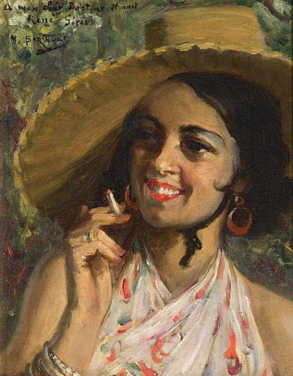 1013:  Manuel BARTHOLD (1874-1947) Femme à la cigarette