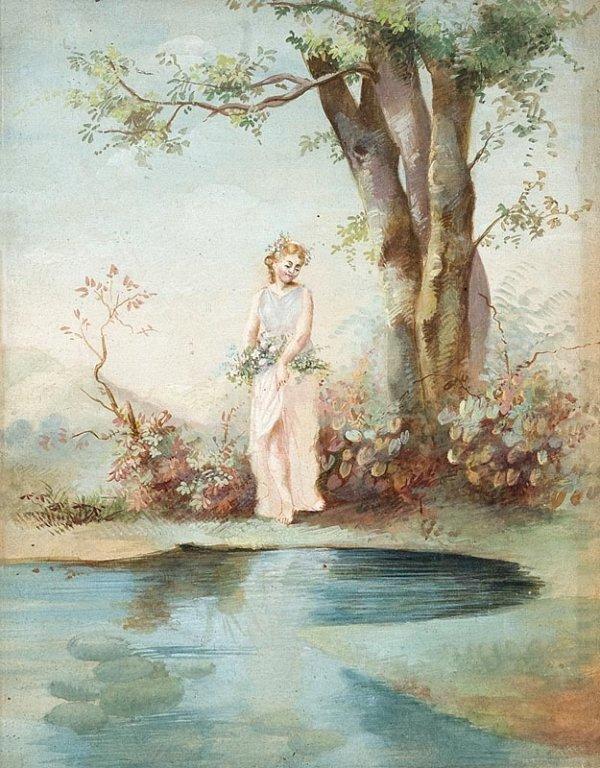 1015:  Ecole romantique. Jeune fille au bord de l'eau.