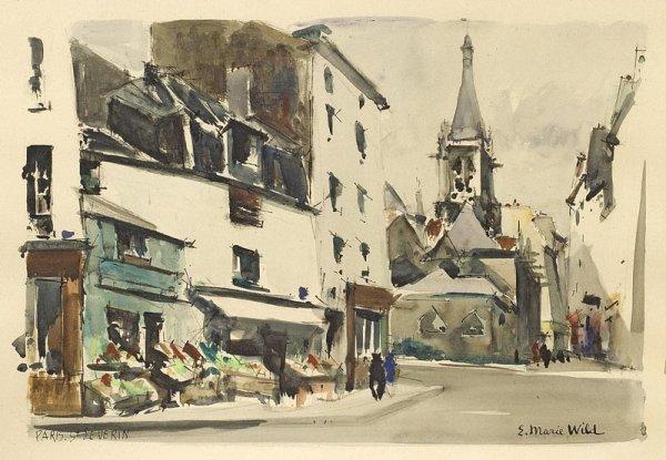 1016:  E. Marie Wild Vues de Paris.  Paire d'aquarelles
