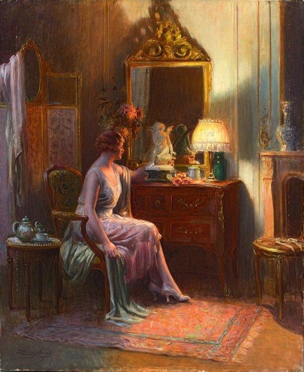 1018:  Delphin ENJOLRAS (1857-1945) Le boudoir. Huile s
