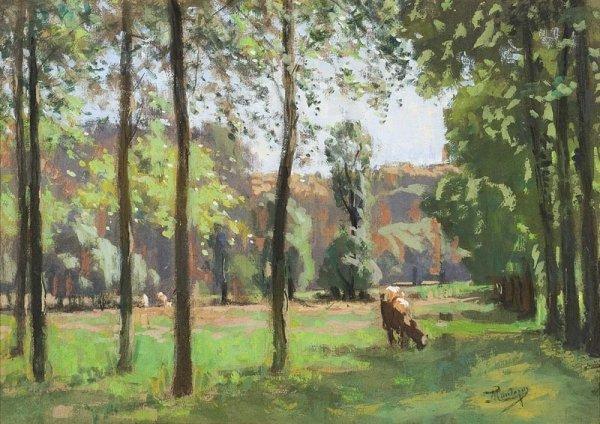 1019:  Pierre de MONTEZIN (1874- 1946) Vaches dans une
