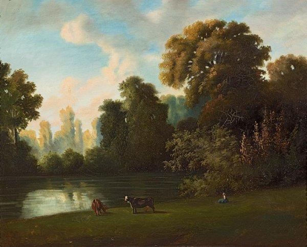 1020: Ecole française du XIXème siècle. Paysage au lac.