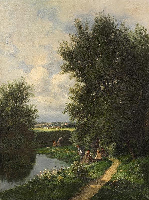 1023:  A. DRUYON Partie de pêche.  Huile sur toile.  Si