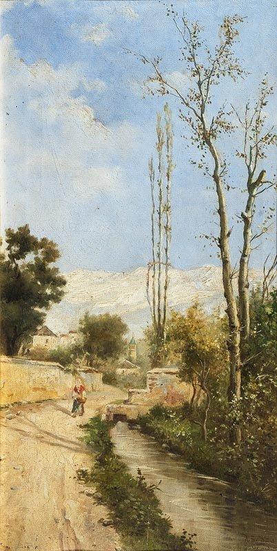 1024: Ecole française du XIXème siècle. Paysages médite