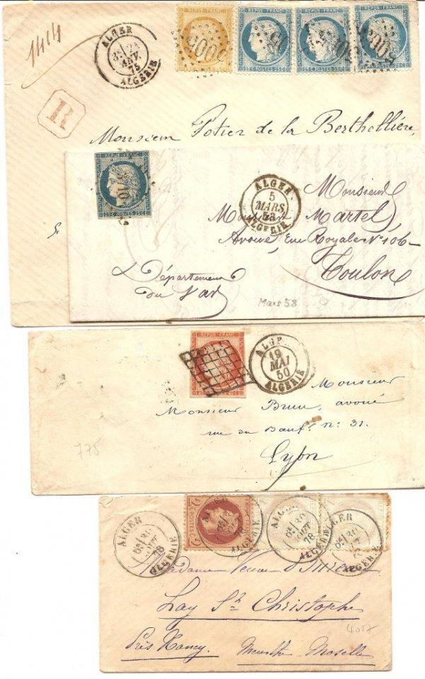 4: France : lettres classiques, oblitérations d'Algérie