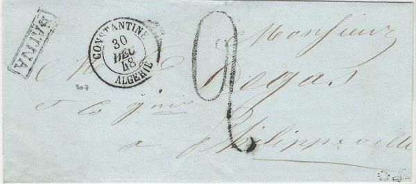 7: Marque postale d'Algérie : lettre (sans texte)avec g