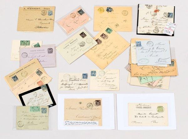22: France : Type Sage, lettres avec oblitérationsd'Alg