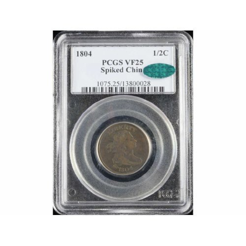 2: 1/2C 1804 Spiked Chin PCGS VF 25 CAC