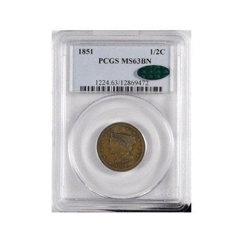 6: 1/2C 1851 PCGS MS 63BN CAC