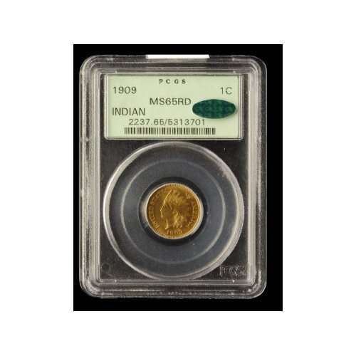 22: 1C 1909 INDIAN CENT PCGS MS 65RD CAC