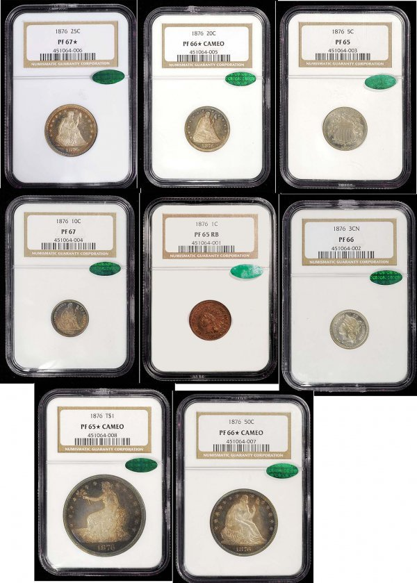 187: 1876 Proof Set All NGC Graded and CAC Stickered