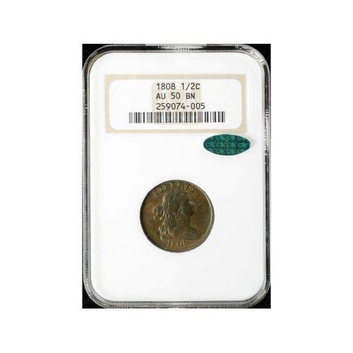 3: 1/2C 1808 NGC AU50 BN CAC Half Cent