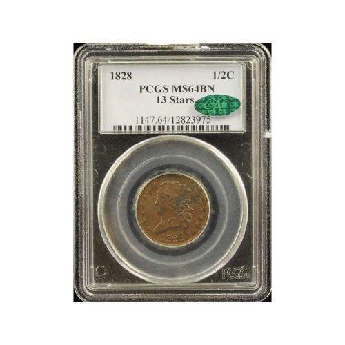 4: 1/2C 1828 PCGS MS64 BN 13 STARS CAC Half Cent